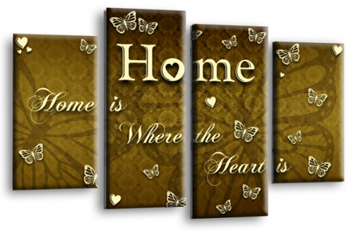 Home Quote Wall Art Print Brown Cream Love Split Picture